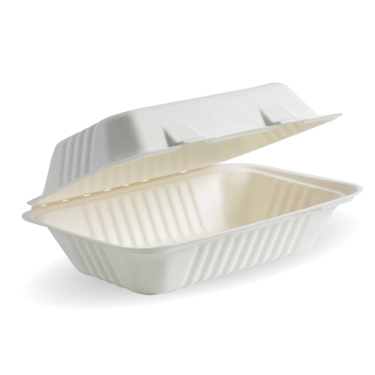 """Picture of White BioCane clamshell lunchbox (23X15X8CM / 9X6X3"""")"""