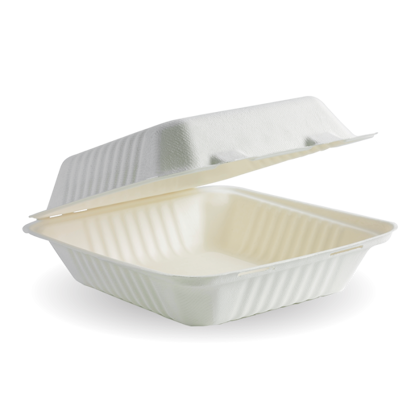 """Picture of White BioCane clamshell lunchbox (20X22X9CM / 7.8X8X3"""")"""