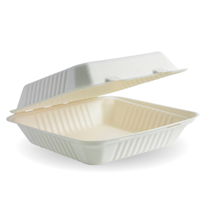 Picture of White BioCane clamshell lunchbox (23X23X8CM)