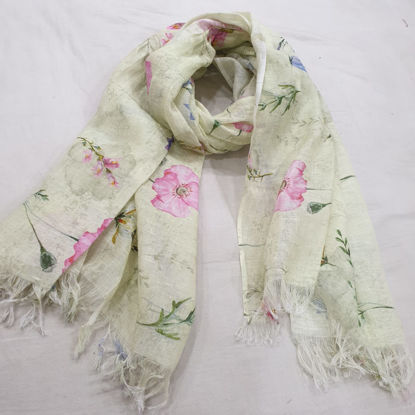 Picture of 100% LINEN DIGITAL PRINTED SCARF / AZO-FREE DYEING