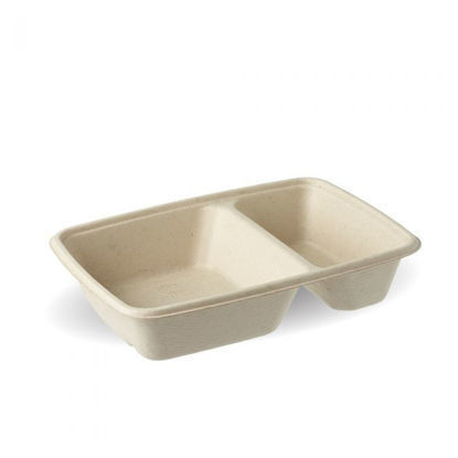 Picture of 950ml 2 Compartment 950ml Rectangular Natural Pac Tray