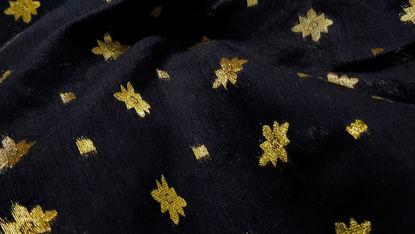 Picture of Black Cotton Silk in golden star cutwork